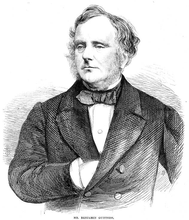 A portrait of Benjamin Lee Guinness in the Illustrated London News, 4th March 1865. Public domain.